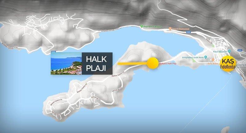 Kaş Halk Plajı Haritası